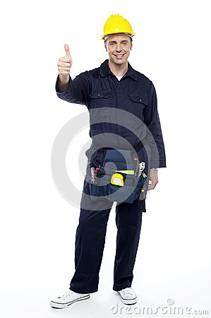 Free Smiling Industrial Engineer Showing Thumbs Up Stock Image - 26567201