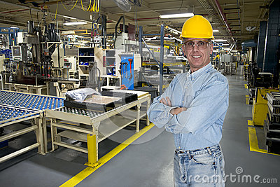 Smiling Industrial Manufacturing Factory Worker
