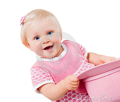 Smiling infant girl isolated on white