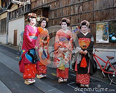 Smiling Japanese Geisha Editorial Photography