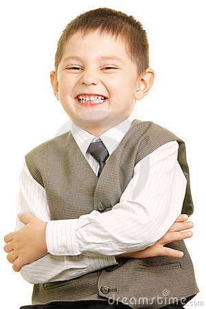 Smiling kid in vest