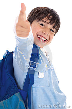 Smiling kinder garden boy gives thumbs up