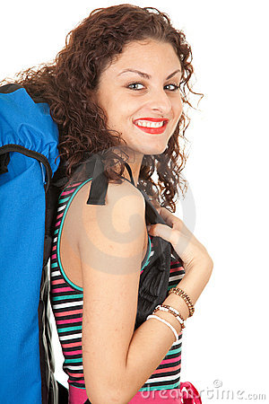 Smiling lady backpacker