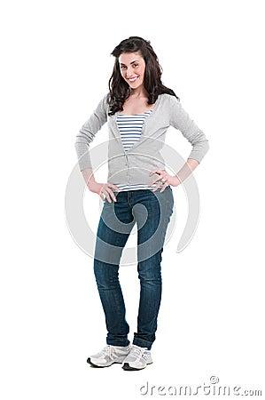 Smiling lady full length