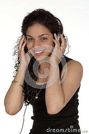 Free Smiling Latina With Headphones Royalty Free Stock Photos - 940208