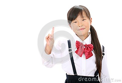 Smiling little asian schoolgirl