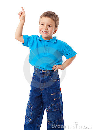 Smiling little boy with empty pointing hand