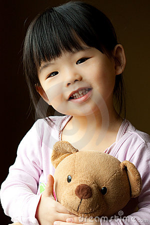Free Smiling Little Child With A Teddy Bear Stock Image - 14458471