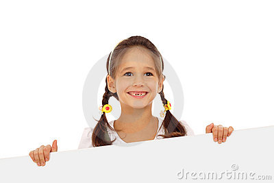Smiling little girl with an empty banner