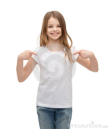 Free Smiling Little Girl In Blank White T-shirt Stock Photos - 41311963