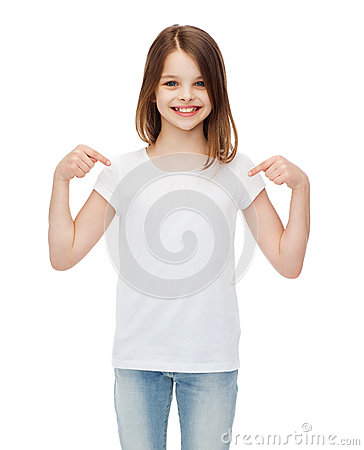 Free Smiling Little Girl In Blank White T-shirt Royalty Free Stock Photography - 41964817