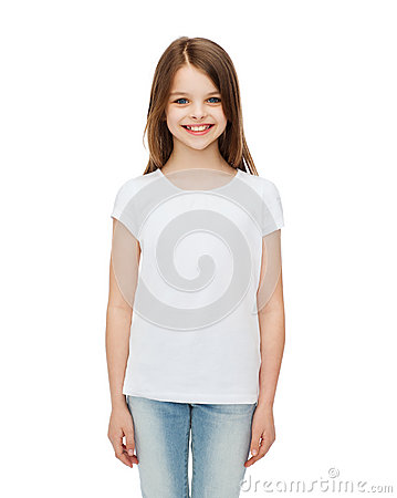 Free Smiling Little Girl In White Blank T-shirt Stock Images - 41964834