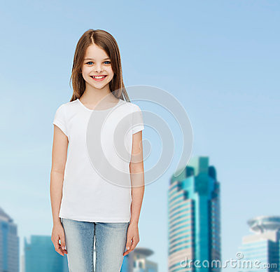 Smiling little girl in white blank t shirt stock photo for T shirt advertising business