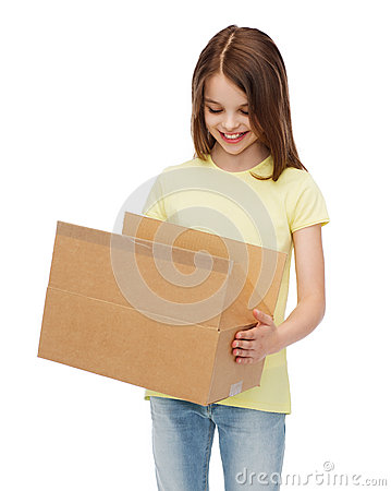 Free Smiling Little Girl With Many Cardboard Boxes Royalty Free Stock Image - 41964956