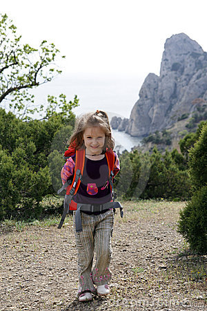 Smiling little hiker