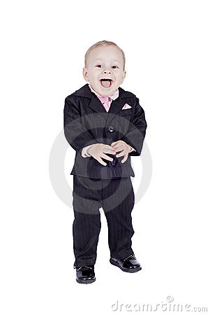 Smiling little man in classic suit