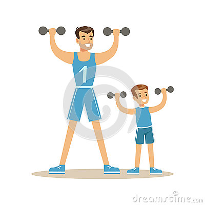Free Smiling Man And Boy Exercising With Dumbells, Dad And Son Having Good Time Together Colorful Characters Stock Photo - 97752100