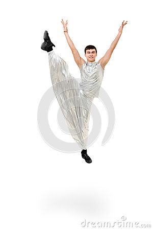 Smiling man dancer jumping
