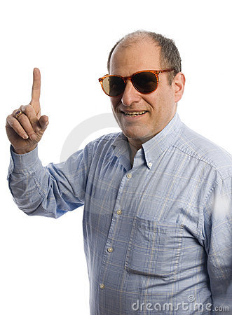 Smiling man with finger pointing number one