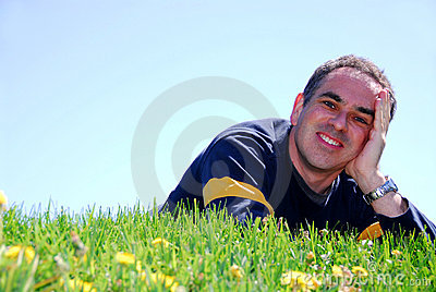 Smiling Man On Grass Royalty Free Stock Images - Image: 886579
