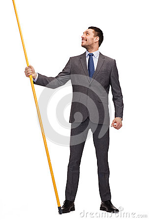Free Smiling Man Holding Flagpole With Imaginary Flag Royalty Free Stock Image - 40041276