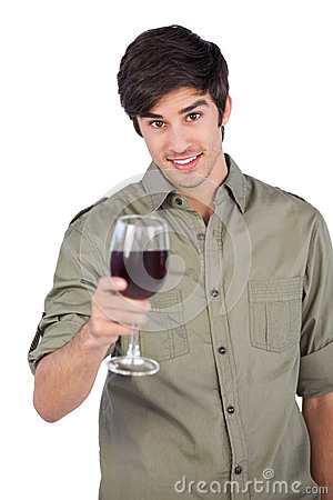 Free Smiling Man Holding Red Wine Glass Stock Photography - 32510242