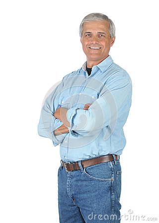 Free Smiling Man In Jeans And Work Shirt Stock Photos - 9990133