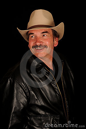 Smiling man with moustache
