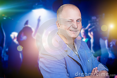 Smiling Man in Night Club