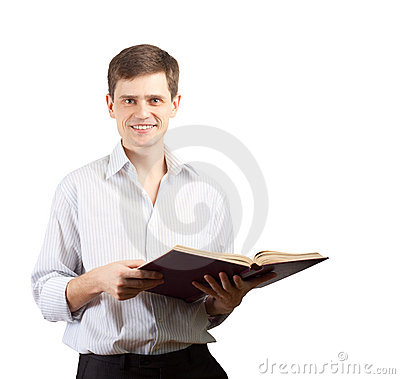Smiling man with open book