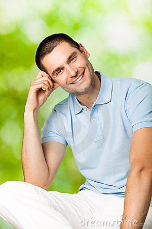 Smiling man, outdoors