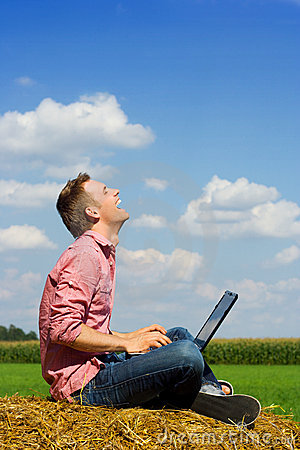 Smiling man over country view