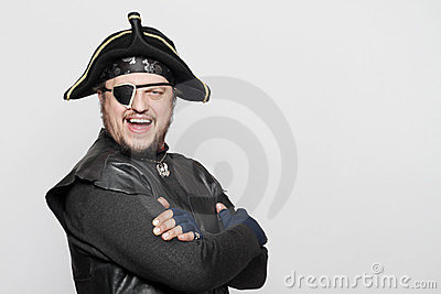 Smiling man in a pirate costume