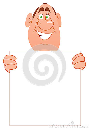 Smiling man with sign