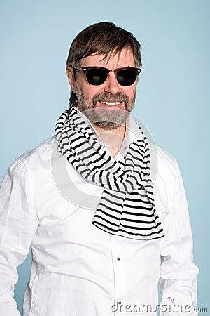 Smiling man wearing sunglasses