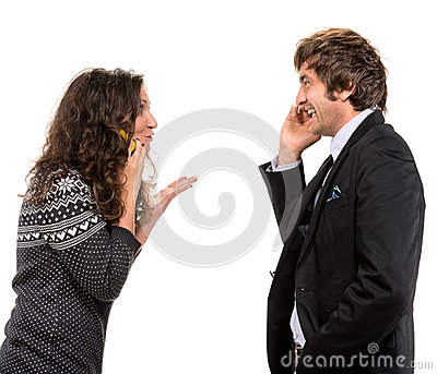 Smiling  man and woman with cell phones