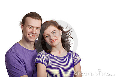 Smiling man and woman stand side by side Stock Photo