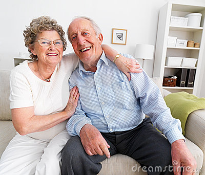 Smiling mature couple sharing their love