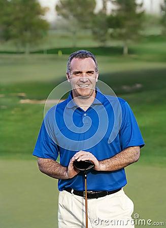 Smiling Mature Golfer