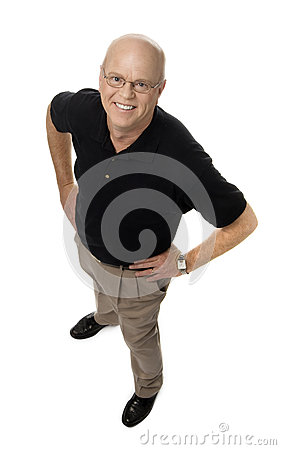 Smiling Mature Man on White Background