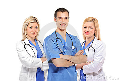 A smiling medical doctors with stethoscopes