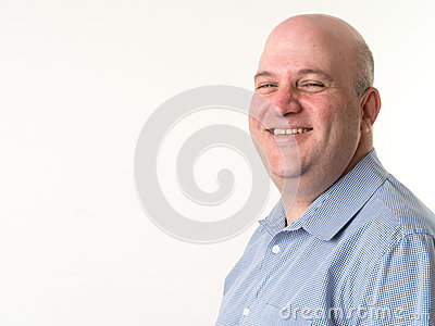 Smiling Middle Aged Bald Man