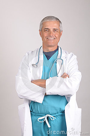 Smiling Middle aged Doctor in Lab Coat and Scrubs