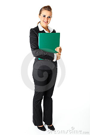 Smiling modern business woman holding folders