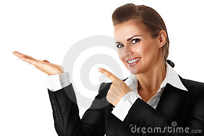 Smiling modern business woman pointing finger on e