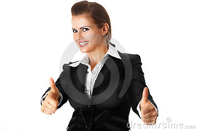 Smiling modern business woman showing thumbs up ge