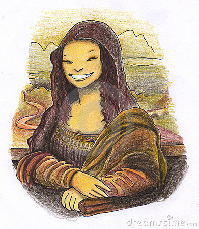 Smiling mona lisa painting