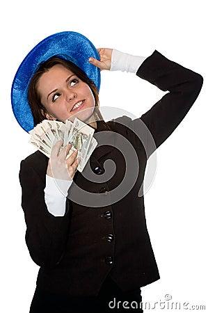Smiling money girl