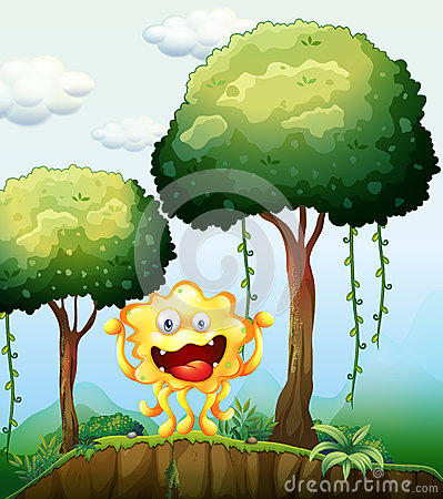 A smiling monster at the forest near the cliff