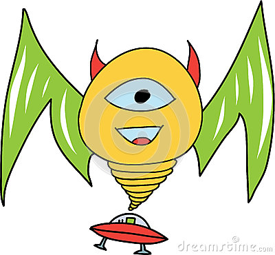 Smiling Monster with UFO